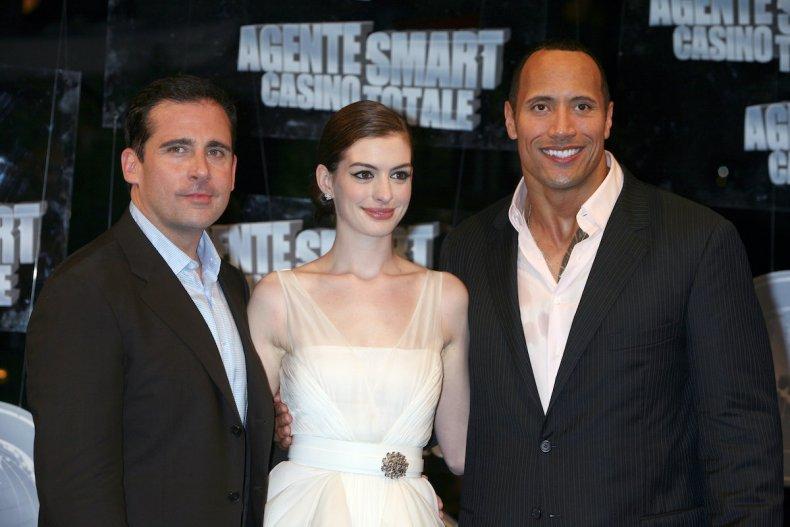 Steve Carell, Anne Hathaway, and Dwayne Johnson