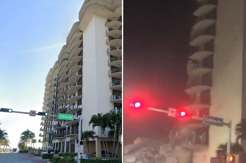 A collapsed building in Miami Beach, Florida