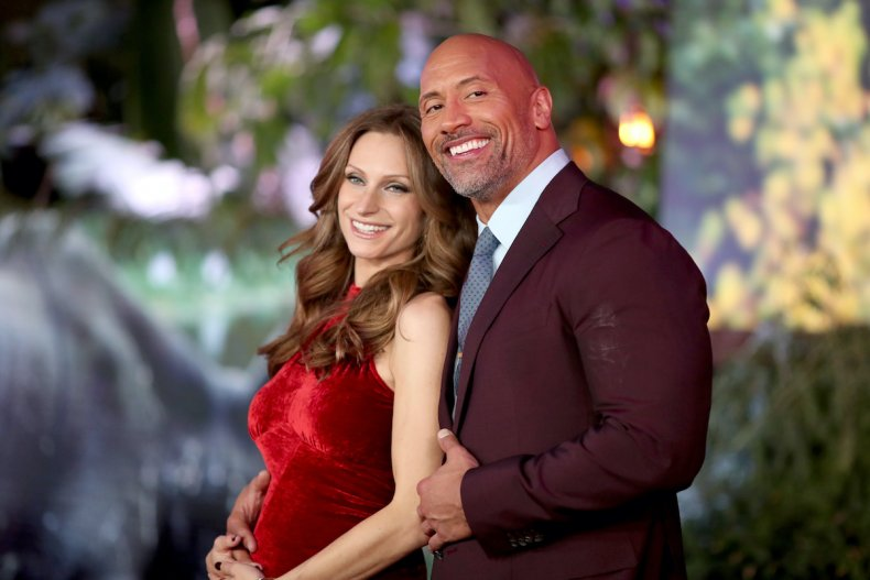 The Rock and Lauren Hashian at premiere