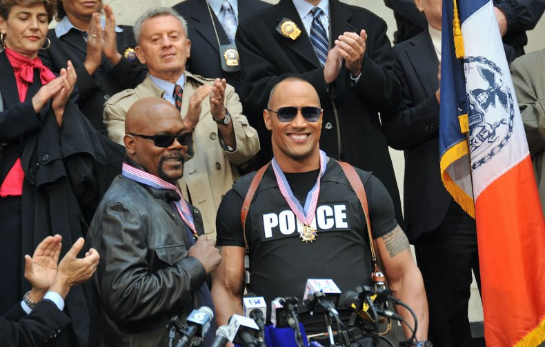 The Rock filming 'The Other Guys'