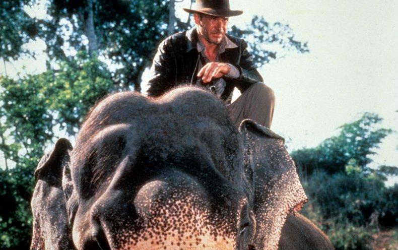Harrison Ford on an elephant