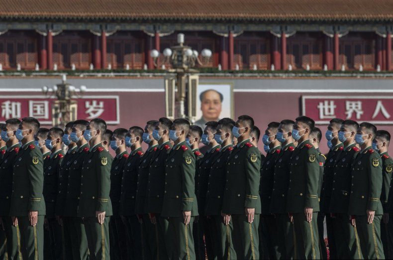 Chinese Troops March In Beijing