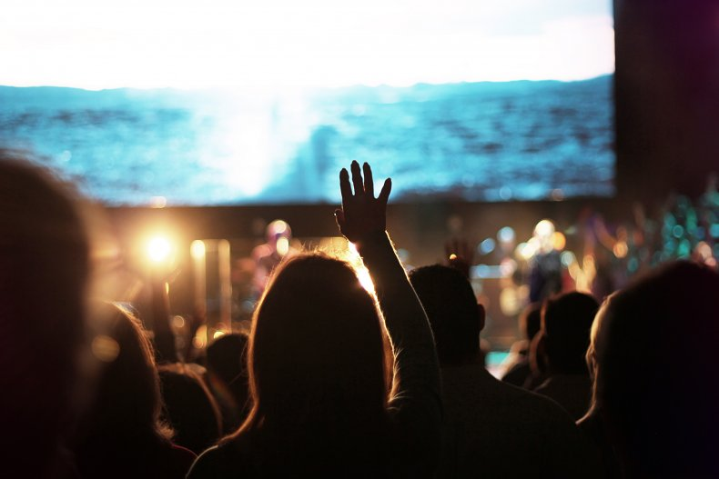 Church crowd singing during worship