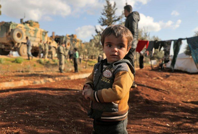 Displaced Syrian Child Near Bab al-Hawa Crossing