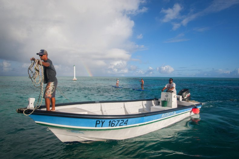 Fishermen in French Polynesia.