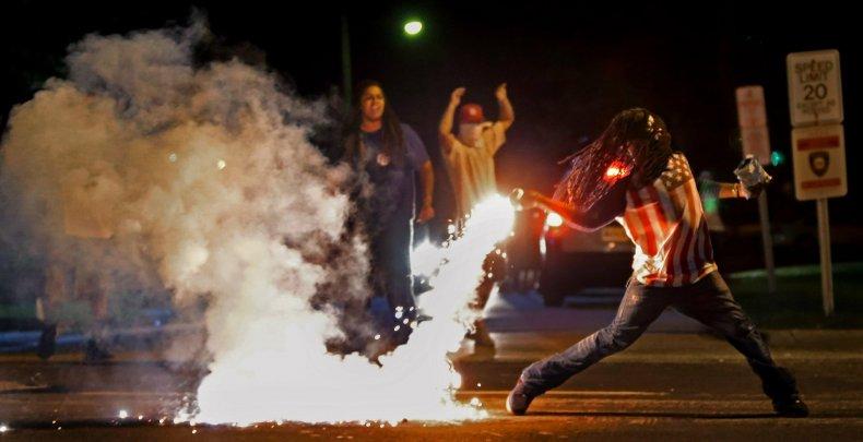 Tear Gas Being Thrown