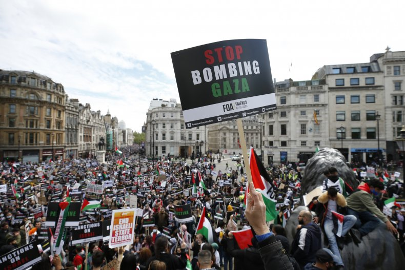 : People take part in a Pro-Palestinian