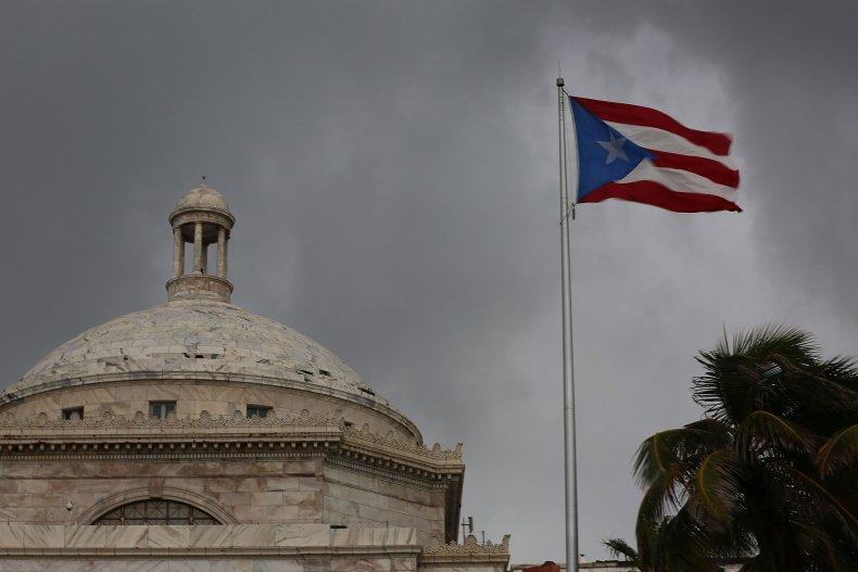 The Puerto Rican flag flies
