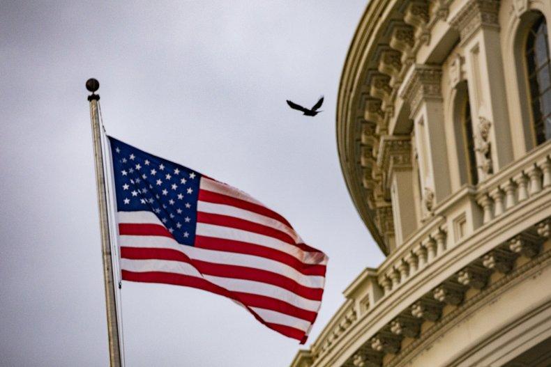 An American flag flies at the U.S.