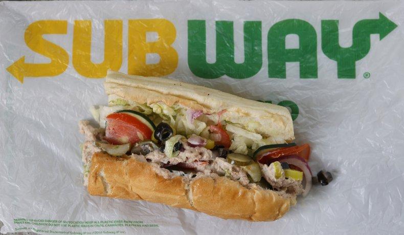 A photograph of a Subway sandwich.