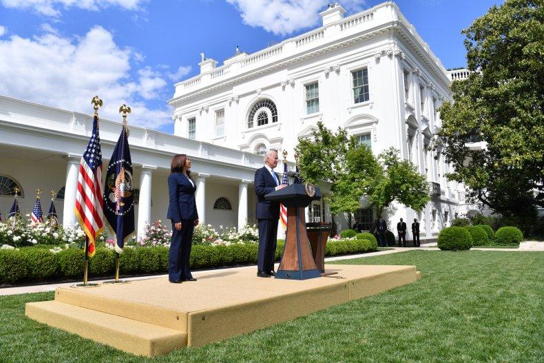 The White House Rose Garden in 2021.