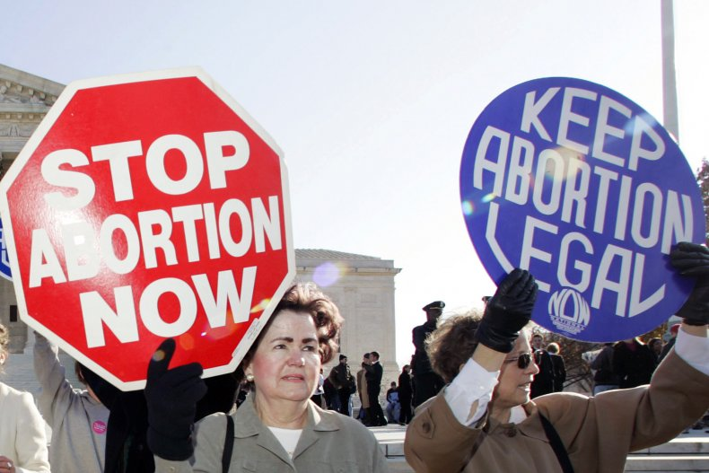 Women Hold Abortion Opinion Signs