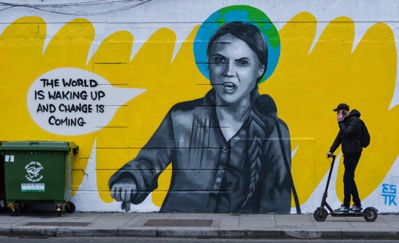 A Greta Thunberg mural in Dublin, Ireland.