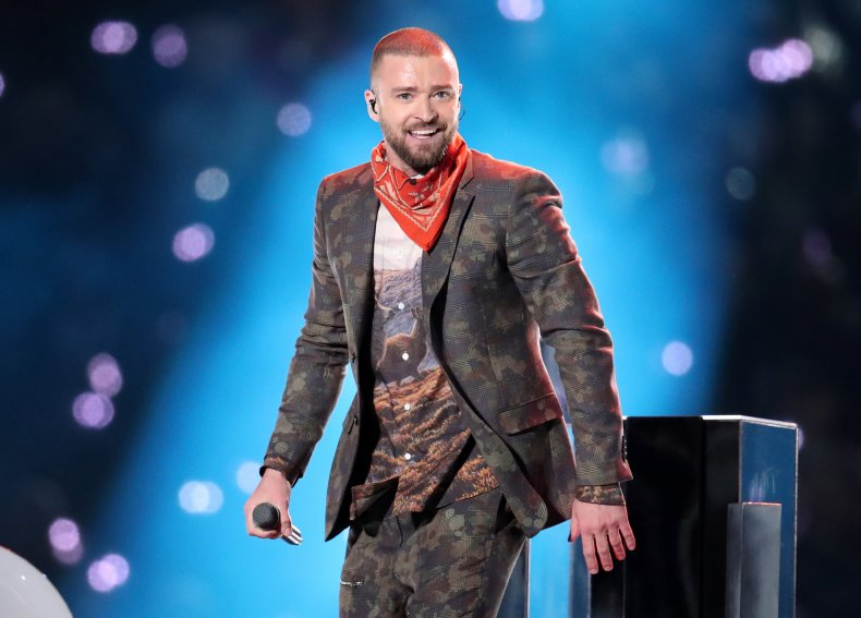 Justin Timberlake performing at Super Bowl