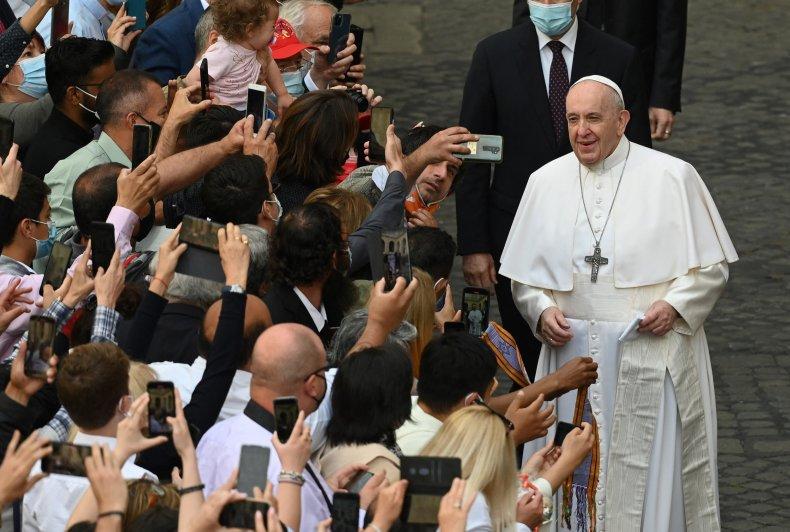 Pope Francis Smiles at Faithfuls