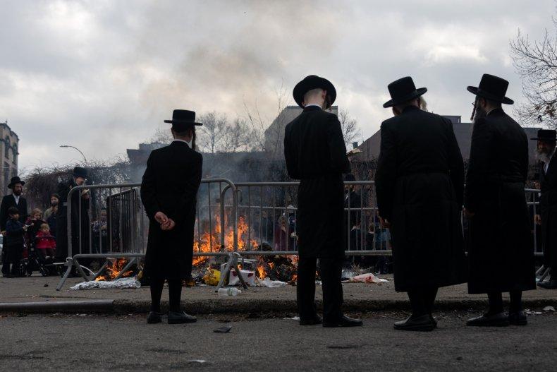"Ultra-Orthodox Jews participate in the ""biur chametz,"""