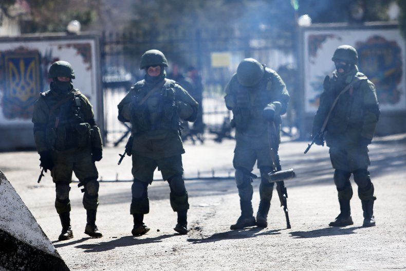 Little, green, men, guard, Ukraine, base, Crimea