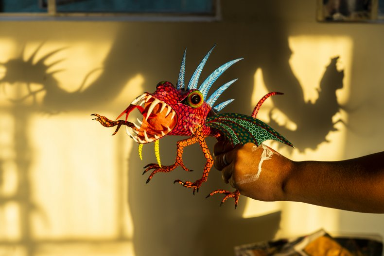 An alebrije displayed in Mexico City.