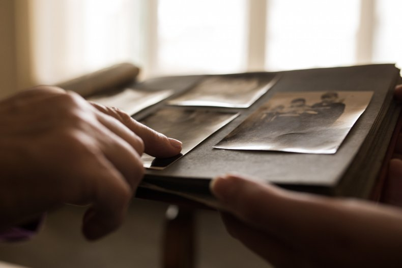 Old photographs in a book