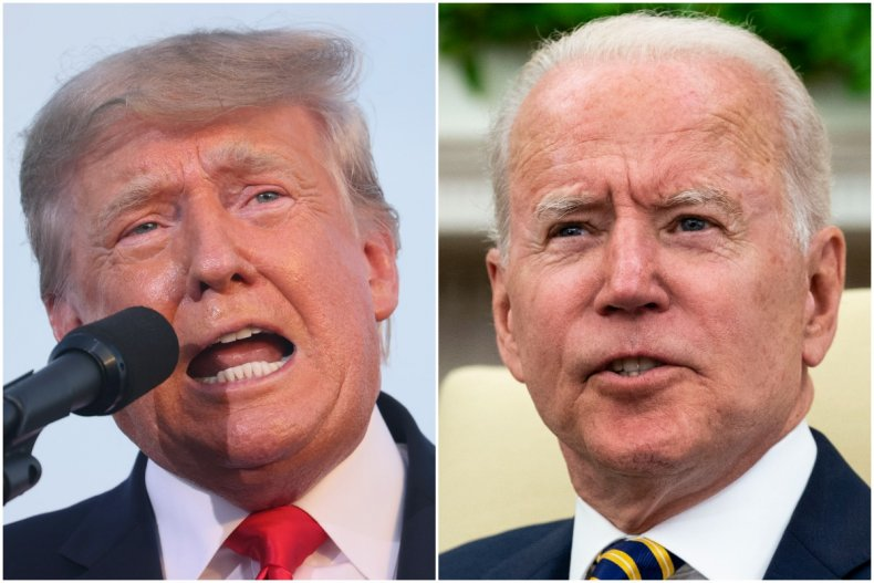 donald trump and joe biden split image