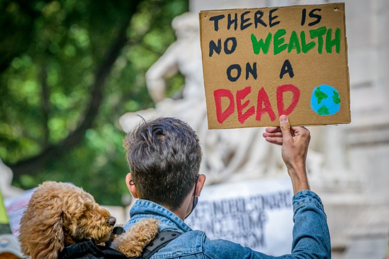 Participant holding a sign at climate march