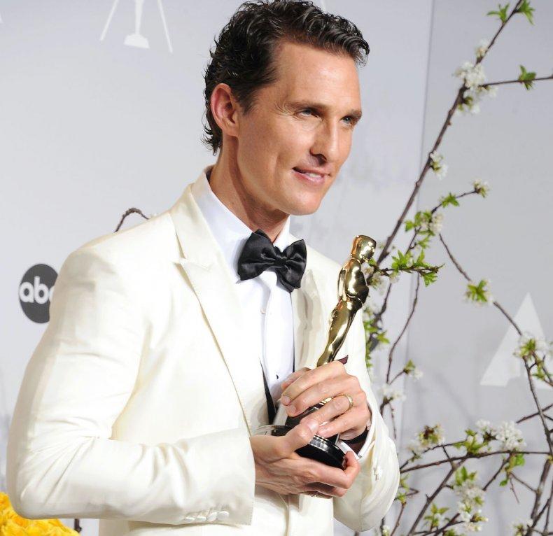 Matthew McConauhey with Oscar award