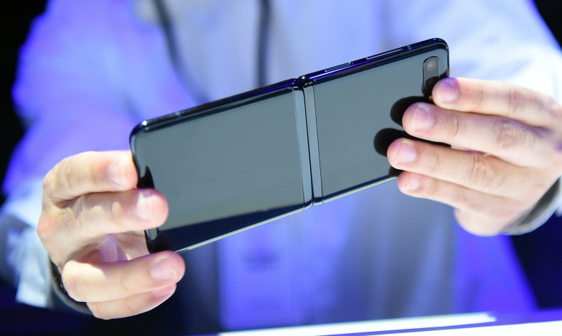 A person holds a smart phone