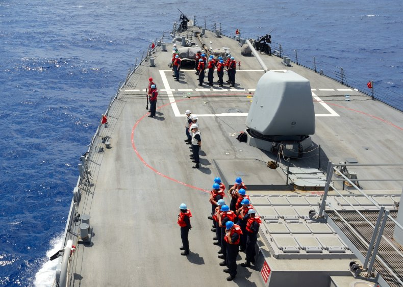 US Navy sailors on USS Ross