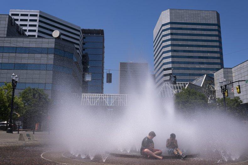 Children Play in Fountain in Portland, Oregon