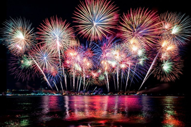 File photo of fireworks over a barge