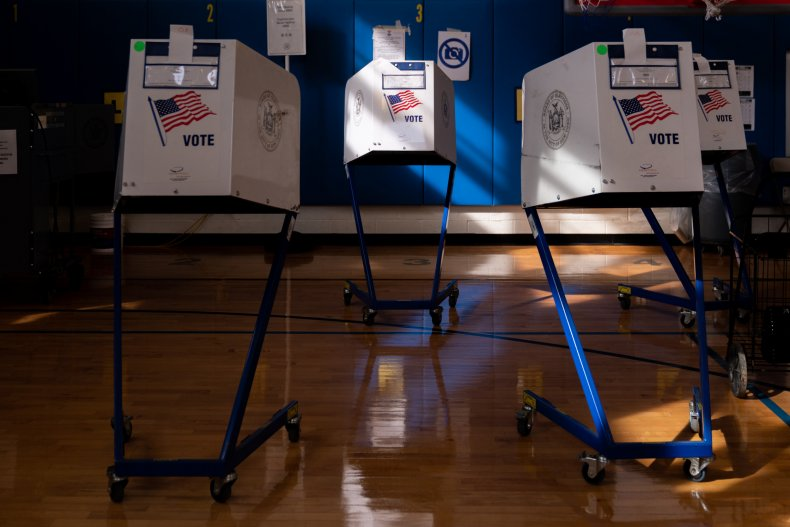Voting booths in New York City.