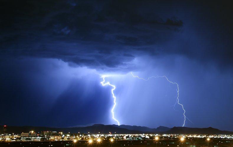 Lightning strikes over Las Vegas.