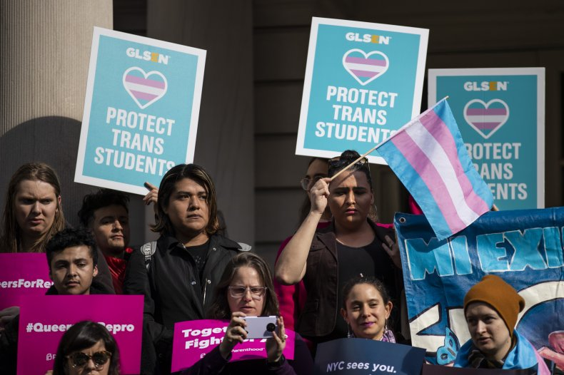 'Protect Trans Students' Signs