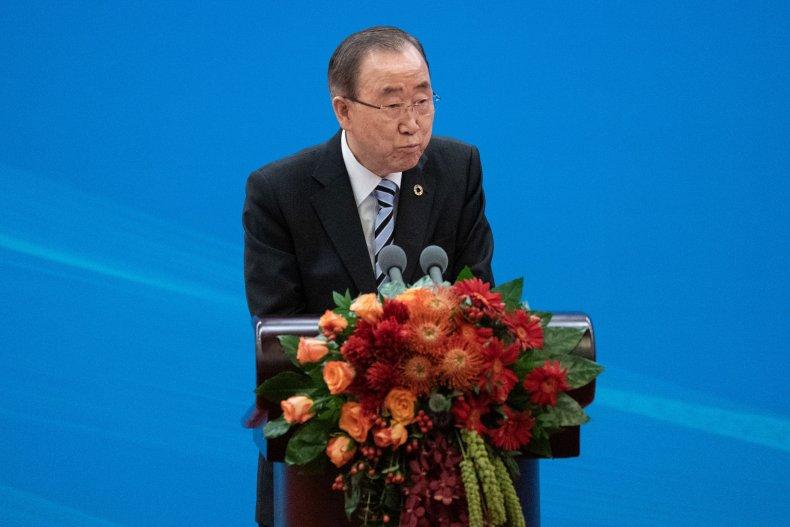 Former UN Secretary General Ban Ki-moon delivers
