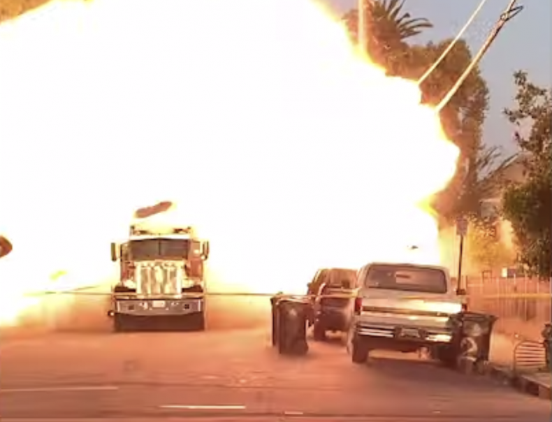 L.A. explosion video shows LAPD Truck obiliterated