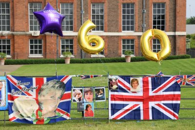 Flowers and tributes for Princess Diana