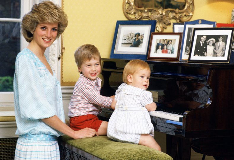 Princess Diana at Palace with Harry, William