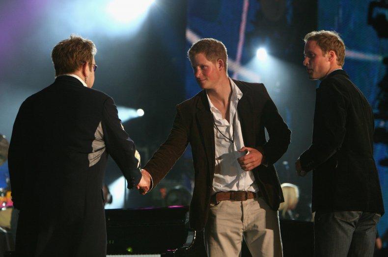 Elton John, Prince Harry and Prince William