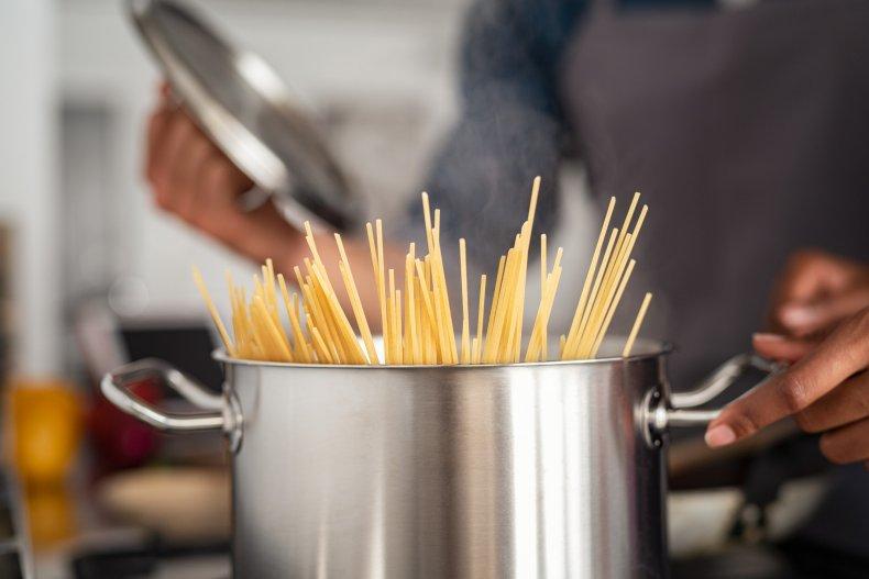 spaghetti in a pan