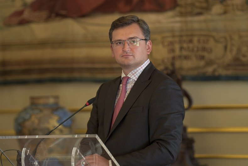 Dmytro Kuleba pictured at Portugal press conference