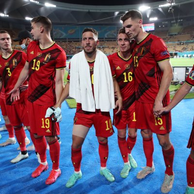 Belgium players celebrate at Euro 2020