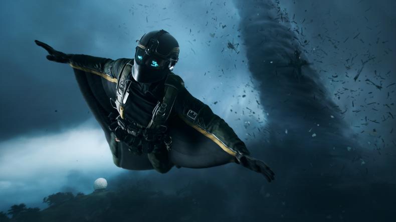 "A ""Battlefield 2042"" Player in a Wingsuit"
