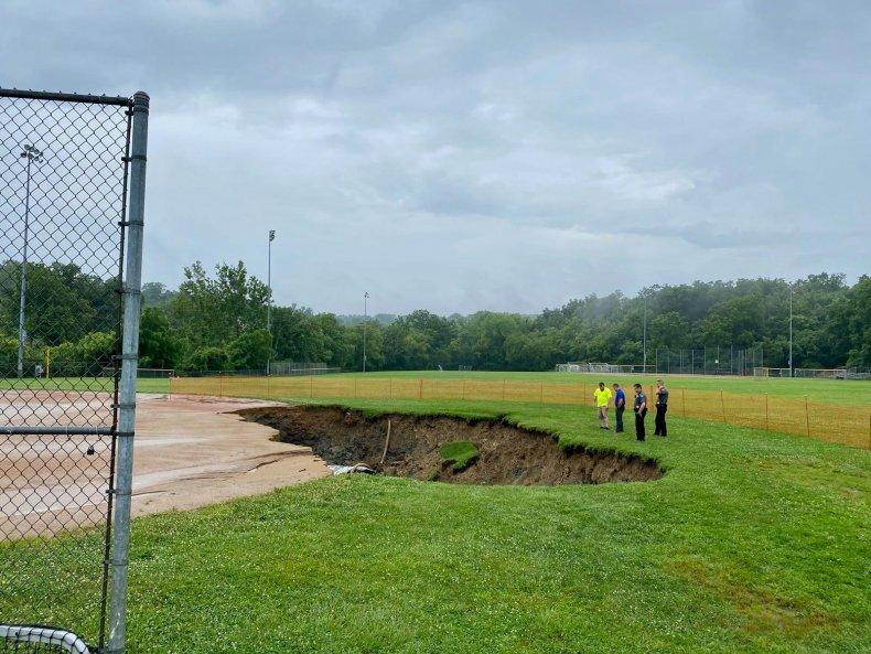 Sinkhole in Ohio baseball field
