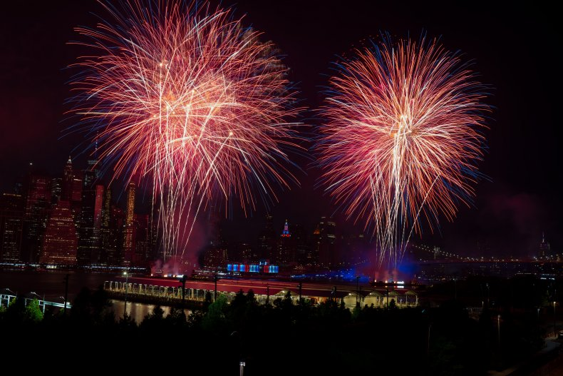 Fireworks in NYC on July 4, 2020.
