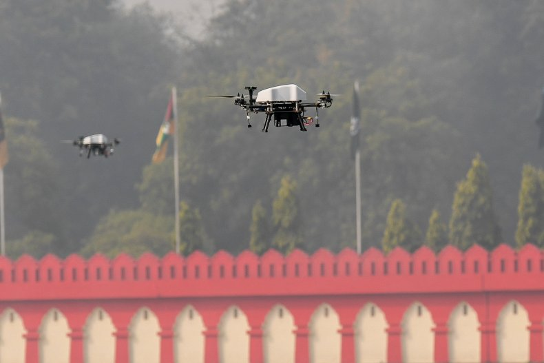 Drones fly during a New Delhi ceremony.