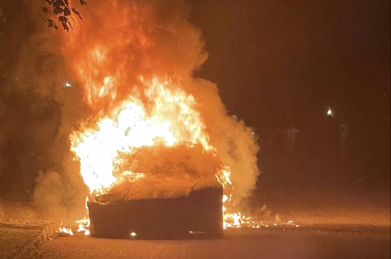 Tesla burning