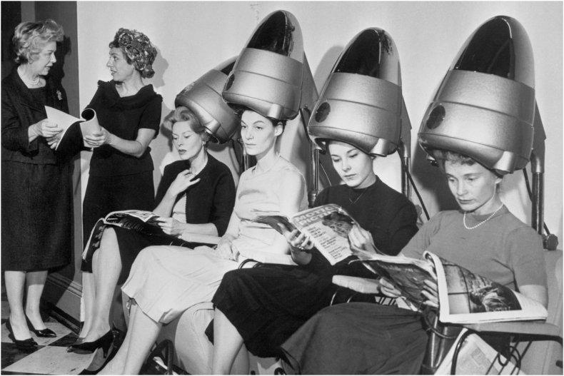 Women Under Hair Dryers