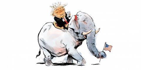 Donald Trump riding an elephant caricature