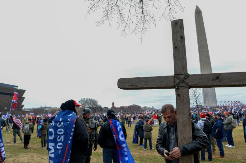 Trump supporter with cross