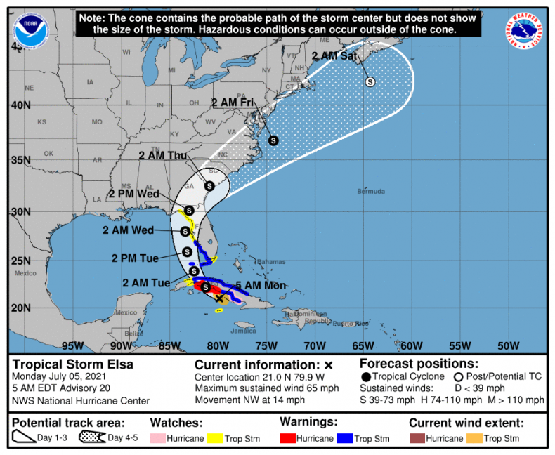 Storm Elsa five-day trajectory